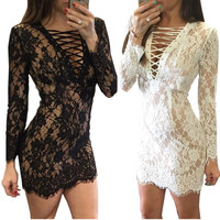 Long sleeve lace up elegant women summer sexy lace dress 2016