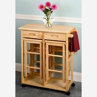 Drop Leaf Table with 2 Square Stools | www.hayneedle.com