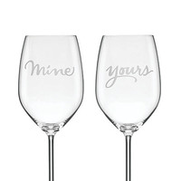Kate Spade Two Of A Kind Yours And Mine Wine Glasses Clear ONE