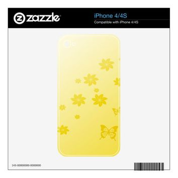Sunshine Flowers n Butterflies Decals For The iPhone 4S