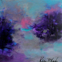 """Small Abstract Landscape Painting, Soft, Expressionist, Purple, Blue, Gray """"Into the Gloaming"""""""