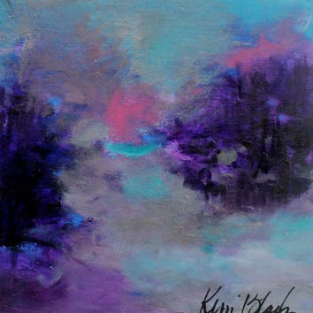 "Small Abstract Landscape Painting, Soft, Expressionist, Purple, Blue, Gray ""Into the Gloaming"""