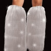 LED Light Up Costume White Sexy Furry Fuzzy Leg Warmers