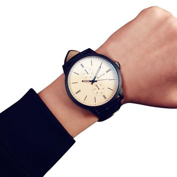womens watch Women mens watch PU leather Students Minimalist Fashion Personality Big Dial Watch relogio feminino montre homme #
