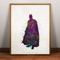 superhero poster, Batman Print Watercolor, Marvel, Art, Heroes Illustrations, Watercolour, Giclee Wall, Artwork, Comic, Fine, Home Decor