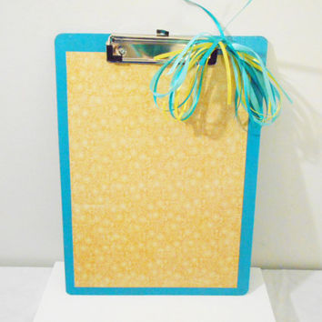 Blue and Yellow Double Sided Hand Made Decorative Clip Board with Floral Pattern Accents -- Teacher & Student Gifts -- Personalized