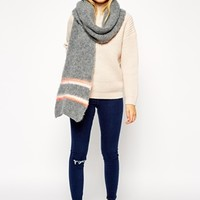 ASOS Oversized Fluffy Scarf With Pastel Stripe at asos.com