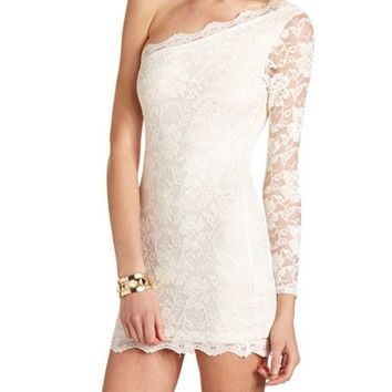 ONE SHOULDER LACE BODY-CON DRESS