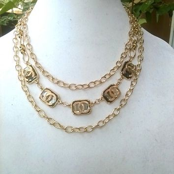 Fantastic Gold Designer Statement Runway Chain Necklace