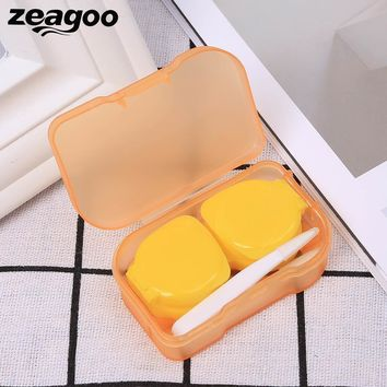 Zeagoo New Small Cute Multi-color Transparent Unisex Contact Lenses Case ABS lightweight Durable Square Folding Box