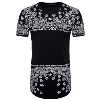 Paisley Men Longline Shirts Extra Long Oversized Tall Tees