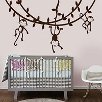 Wall Decal Vinyl Sticker Tree Hanging Monkeys Leaves Jungle Nursery Kid V190