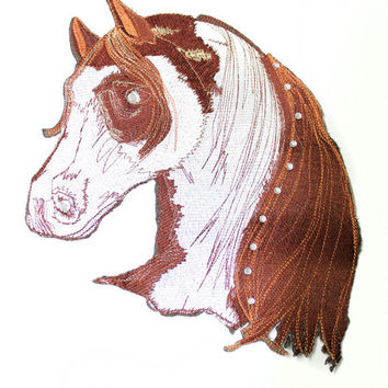 1 BIG Animal Horse Fashion Patch Applique for Sew On Glue On with Rhinestones for Garments, Accessories and Home.