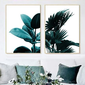 Wall Art Canvas Posters And Prints Tropical Palm Leafs Canvas Painting Nordic Poster Wall Pictures For Living Room Quadros Decor