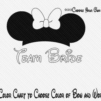 Team Bride Wedding Bride Groom Party Minnie Mouse Ears Choose Your Color Printable Iron On Transfer Clip Art DIY Tshirts ITEM12