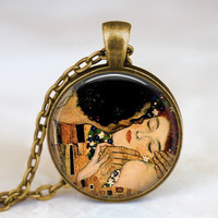Valentine's day gift idea The Kiss Gustav Klimt necklace , valentine jewelry, love affection necklaces