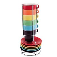 Present Time Rainbow Ceramic Espresso Cup Tower, Set of 6