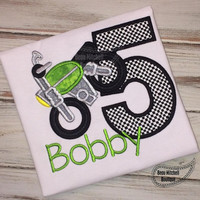 Dirtbike Birthday Applique shirt - Customizable -  Infant to Youth