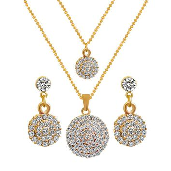 Fashion New Gold Color Round Crystal Stones Stylish Necklace Earrings  Wedding Jewelry Sets