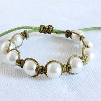 Shamballa Green Macrame Braided Bracelet with Acrylic Pearls by WilwarinDesigns