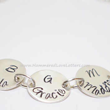 3 Charms Hand Stamped Grandmas Bracelet Sterling silver with perfect for Great Grandma too (pictured with 7)