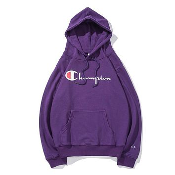 Champion women's and men's classic embroidered print logo hoodie F-CP-ZDL-YXC purple
