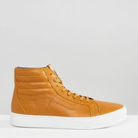 Vans Sk8-Hi Cup Leather Trainers In Red VA2Z5XJYQ