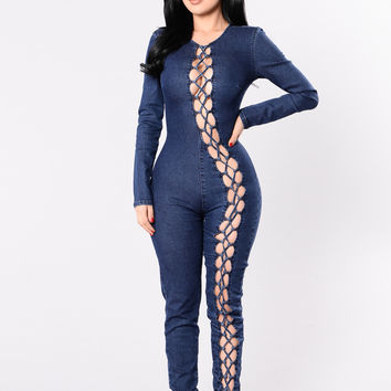 Give Me Goosebumps Jumpsuit - Blue