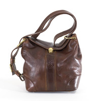 Marino Orlandi Brown Leather Bag Made in Italy Large Carryall Satchel Hobo Purse