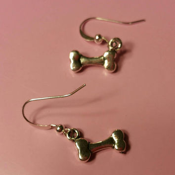 Dog lover dog bone fish hook metal earrings. Gifts for dog lovers, gift for women, women's fashion, mom gift, christmas gift, girls gifts