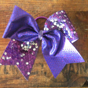Cheer BowDeep Purple Sparkle Bow by UBeUInc on Etsy
