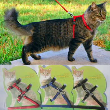 Cat Harness And Leash 3 Colors Nylon Adjustable Traction