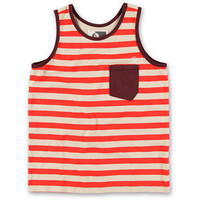 Volcom Boys Submission Red & White Stripe Pocket Tank Top