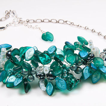 Teal Bib Necklace, Beaded Necklace, Statement Jewelry, Bridal Jewelry with sterling leaves pearls crystals