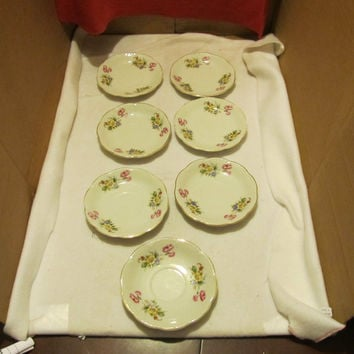 VINTAGE SET OF SEVEN AMEREX CHINA DESERT PLATES MADE IN OCCUPIED JAPAN