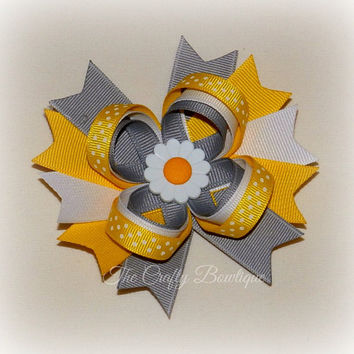 Daisy Loopy Bow ~ Yellow & Gray Bow ~ Yellow Polka Dot Bow ~ Large Daisy Bow ~ Gray Hair Bow ~ Yellow Hair Bow ~ Yellow Flower Bow