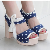 Fashion dot waterproof platform heels