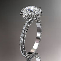 14kt white gold diamond unique engagement ring,wedding ring ADER95