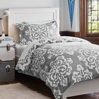 Ikat Medallion Essential Duvet Value Bedding Set, Light Grey