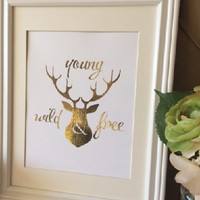 """Gold Foil """"Young, Wind and Free Nursery"""" Print nursery art, nursery print, deer and antler print, rustic nursery, woodland print, baby gift"""