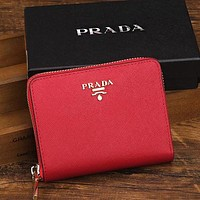 PRADA Classic Popular Leather Women Zipper Purse Wallet(9-Color) Red I-YJBD-2H