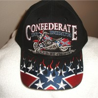 Confederate flag on a new black bikers cap with tags