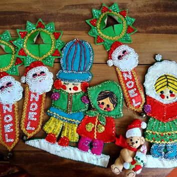 Vintage Christmas Bucilla Felt Sequin Appliques Crafts DIY Supplies Repurpose Project