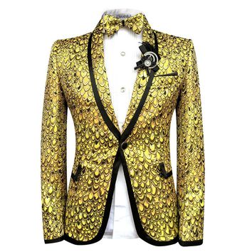 Cloudstyle Men Blazer Suits Bright Scales Gold Suit Performance Tuxedo Party Prom Wedding Costume Homme Slim Fit