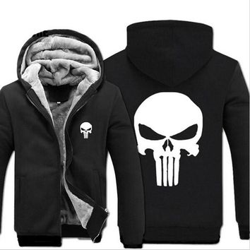 New Fashion Winter Warm The Punisher Hoodies Anime skull Hooded Coat Thick down men Drake cardigan Jacket Sweatshirts