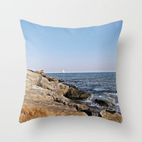 Coast of Barcelona Throw Pillow by Miguel Á. Núñez I.