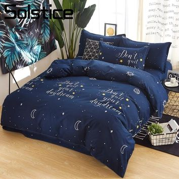 Solstice Home Textile Kid Teen Bedlinen Navy Blue Duvet Cover Pillowcase Sheet Boy Girl Bedding Sets King Queen Twin Size 3/4Pcs