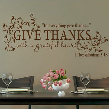 Bible Verse Give Thanks With A Grateful Heart Thanksgiving Wall Quote Vinyl Decal Sticker