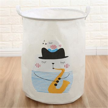 Sax Cat Foldable Cloth Laundry Hamper Toy Storage Basket