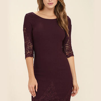 Solid Half Sleeve Lace Hollow out Bodycon Dress - NOVASHE.com